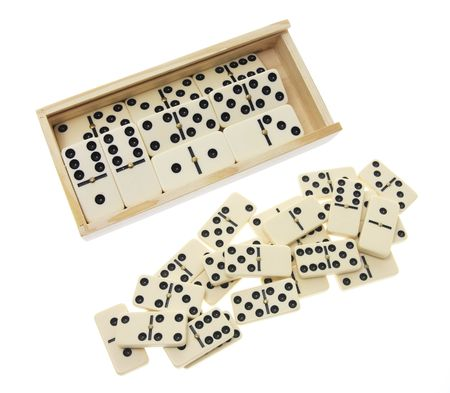 Dominoes in Wooden Box on White Background photo
