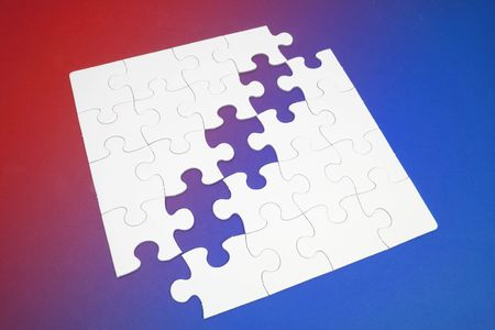 compatibility: Jigsaw Puzzle Pieces on Red and Blue Background