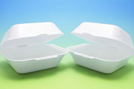 polystyrene: Polystyrene Food Boxes on Blue and Green Background