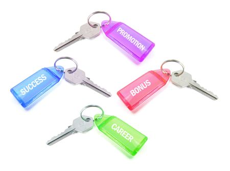 Keys with Tags on White Background 版權商用圖片
