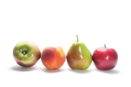 Row of Fresh Fruits on Isolated White Background photo