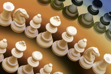 manoeuvre: Chess Pieces in Warm Tone Stock Photo
