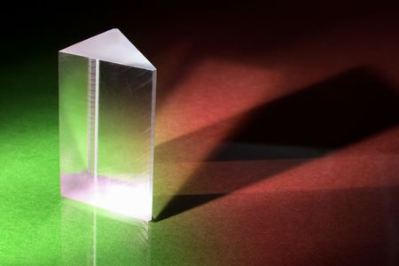 prism: Glass Prism on Green and Red Background Stock Photo