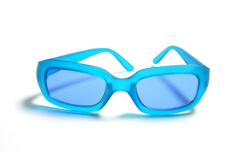 sunnies: Blue Plastic Sunglasses on Isolated White Background
