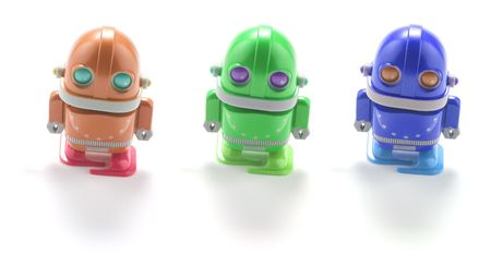 Toy Robots on White Background  Stock Photo - 4990401