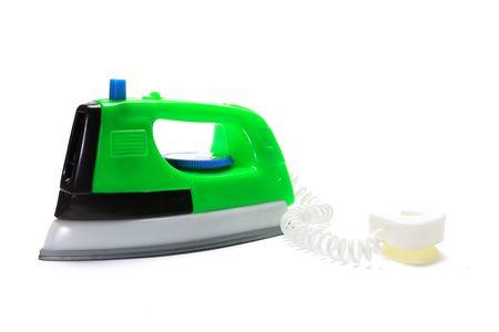 Plastic Toy Iron on White Background Stock Photo - 4990449