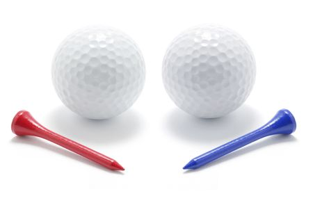Golf Balls and Tees on White Background Stock Photo - 5003528