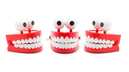 chatter: Chattering Teeth on White Background