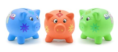 piggybanks: Piggy Banks on White Background Stock Photo
