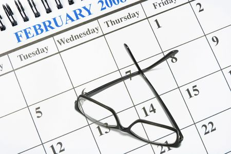 Composite of Calendar and Eyeglasses Stock Photo - 5032463