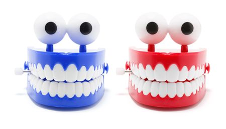 chatty: Chattering Teeth on White Background