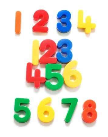 Plastic Numbers on White Background Stock Photo