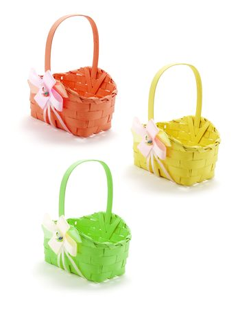 Easter Baskets on Isolated White Background photo