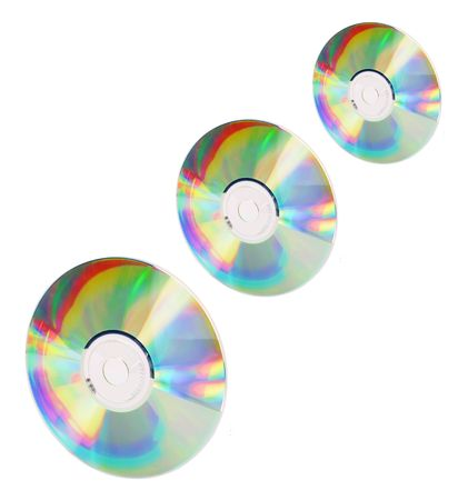 discs: Compact Discs on White Background