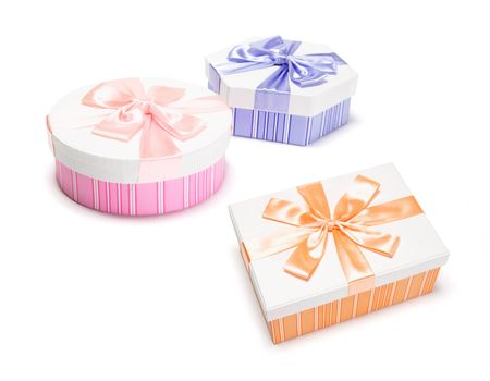 Gift Boxes on Isolated White Background Stock Photo - 5051575