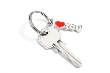 Key with I Love You Tag on White Background photo