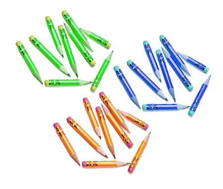 writing instruments: Short pencils on White Background Stock Photo