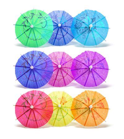 novelties: Cocktail Umbrellas on White Background