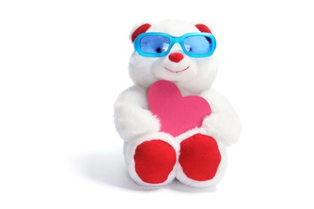 Teddy Bear with Sunglasses and Love Heart on White Background photo