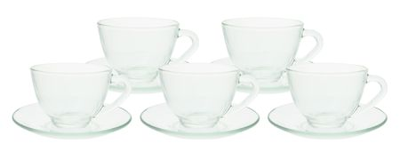 Teacups and Saucers on White Background Stock Photo - 5207547