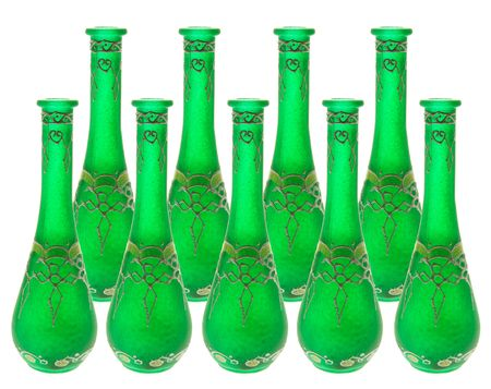 homeware: Green Glass Vases on White Background