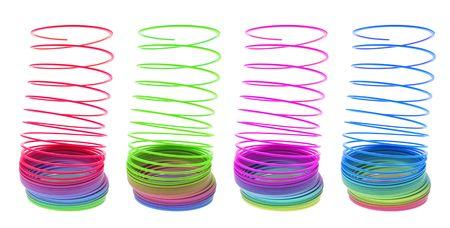 slinky: Slinky Toys on Isolated White Background