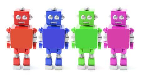 Toy Robots on White Background photo