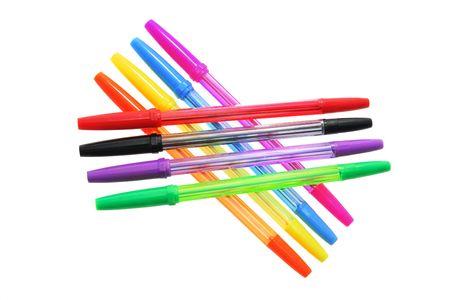 ball pens stationery: Bol�grafos Aislado en blanco de fondo