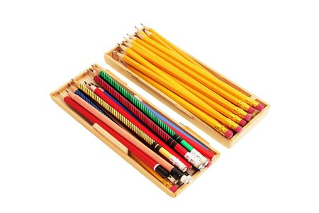 tidiness: Pencils in Wooden Cases on White Background