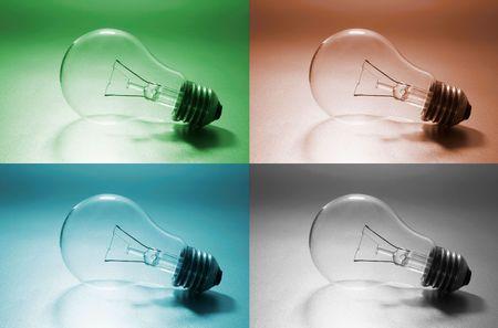 light bulbs: Bombillas de colores con materiales compuestos