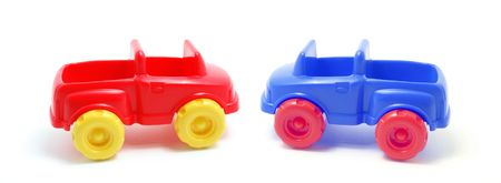motorcars: Plastic Toy Cars on White Background