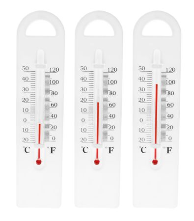 boiling point: Thermometers on Isolated White Background
