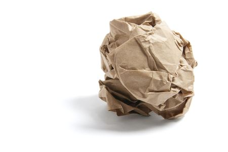 paperbag: Scrunched Paper Bag on Isolated White Background