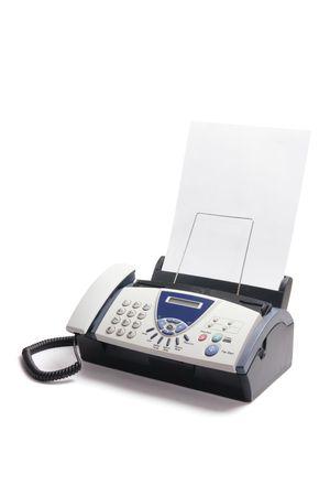 Fax Machine auf Isolated White Background Standard-Bild