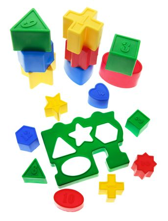 recognize: Shape Sorter Toys on White Background
