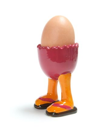 Egg Cup with Legs on White Background Stock Photo - 5376867
