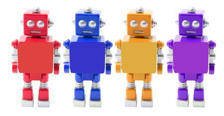 Toy Robots on Isolated White Background photo