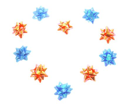 giftware: Star Bows Arranged in Heart Shape on White Background