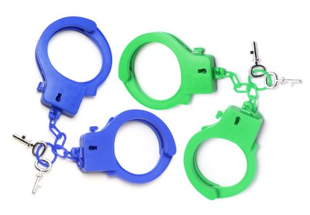 detained: Plastic Handcuffs on Isolated White Background