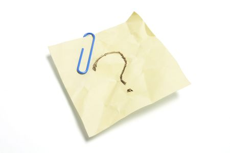 Post It Note Paper with Question Mark on White Background photo