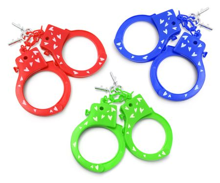 Plastic Handcuffs on Isolated White Background photo