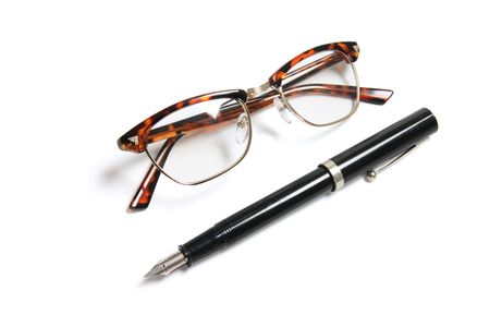 myopic: Fountain Pen and Eye Glasses on White Background