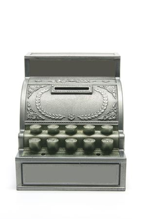 Toy Cash Register Bank on White Background photo
