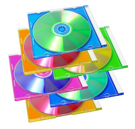 Compact Disc in Plastic Case on White Background photo