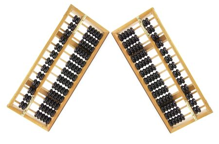 abaci: Chinese Abacus on Isolated White Background Stock Photo