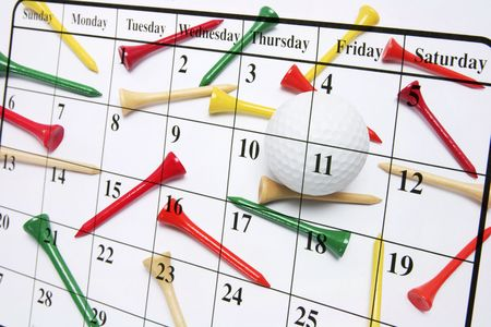 organise: Composite of Calendar and Golf Tees Stock Photo