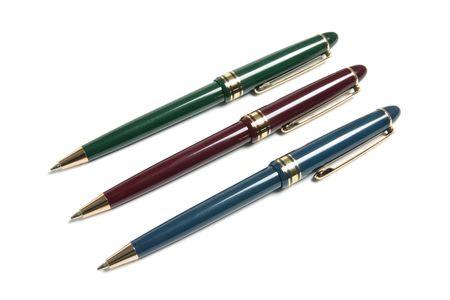 ball pens stationery: Bol�grafos en Isolado Fondo blanco Foto de archivo