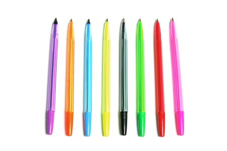 ball pens stationery: Bol�grafos en Isolado Fondo blanco Foto de archivo