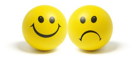 sad faces: Smiley Balls on Isolated White Background Stock Photo