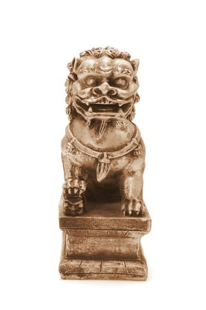 lion figurines: Chinese Lion Statue on White Background Stock Photo